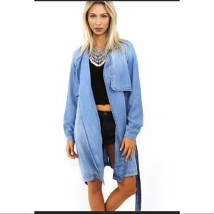 NEW Anthropologie Cloth & Stone Chambray Trench